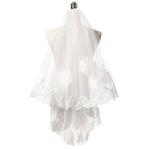 KAY&LAYLA 2 layers White Bridal Wedding Veil Lace Mantilla