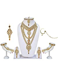 Lucky Jewellery Lct & White Kundan Bridal Jewellery Necklace Set 8 Pcs For Women