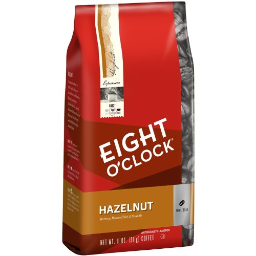 Eight O'Clock Hazelnut Whole Bean Coffee, 11-Ounce Bags (Pack of 6)