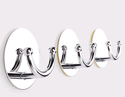 Modified Bathroom Self Adhesive Hook for Towel and Robe, Stainless Steel, 4 - Pieces (Shower Glass Door Protector compare prices)