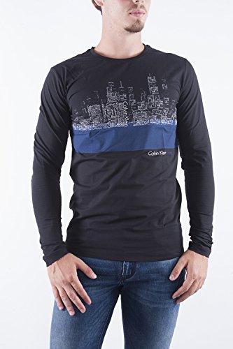 CALVIN KLEIN JEANS - T-shirt uomo manica lunga con stampa slim fit trown tee s nero