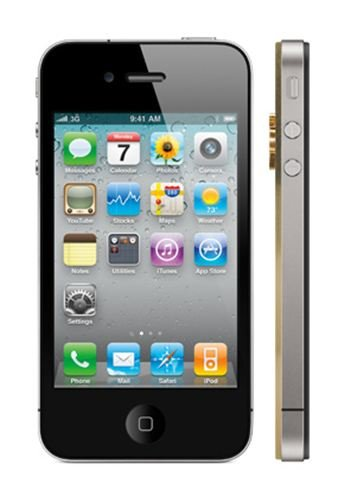 Apple iPhone 4s 32GB - 24k Classic Gold and Rear Chassis In Classic Gold With Diamonds Luxury Mobile Phone