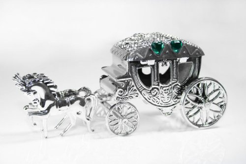 Pack of 24 Horse & Carriage Fairytale Wedding Favour Holder Boxes with Emerald gems - S16G24