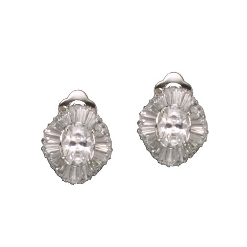 C.Z. BAGUETTE OVAL RHODIUM PLATED (.925) STERLING SILVER EARRINGS