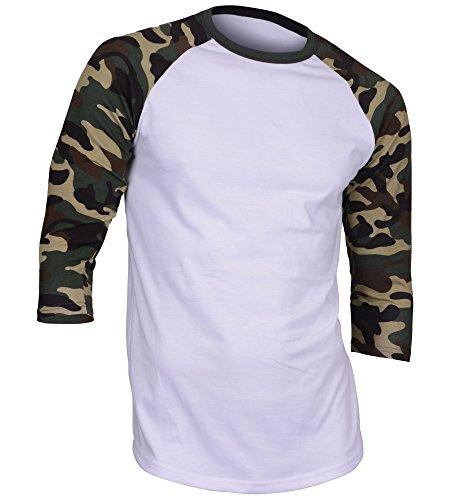 Men's Casual 3/4 Sleeve Baseball Tshirt Raglan Jersey Shirt Dark Camo Large Clothing
