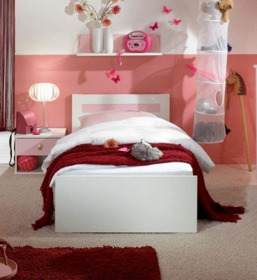 bett sissi jugendbett kinderbett wei rosa 90x200 ean 4038061146456. Black Bedroom Furniture Sets. Home Design Ideas