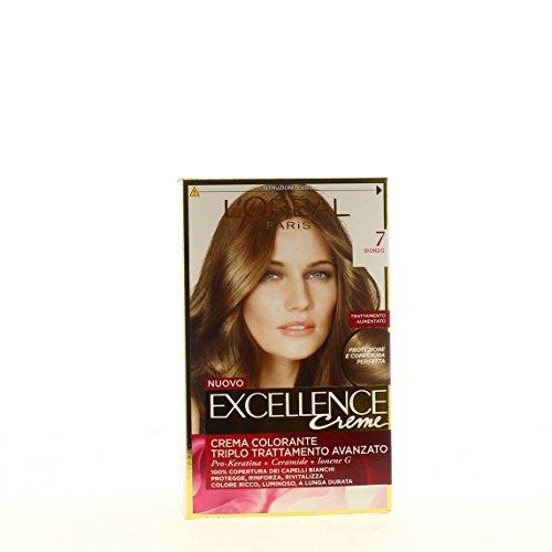 L'Oréal Paris Excellence Crema Colorante Triplo Trattamento Avanzato, 7 Biondo