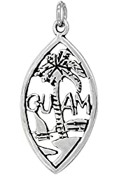Sterling Silver Guam Word Pendant, 1 inch wide