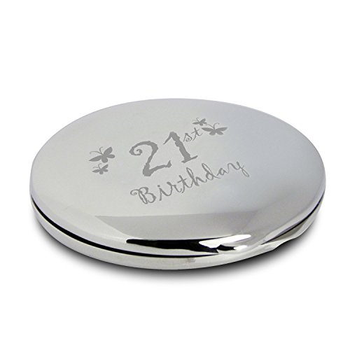 Silver Finish Engraved 21st Birthday Round Compact Mirror with Butterflies Great Idea for Birthday Gift Friends Presents Gifts