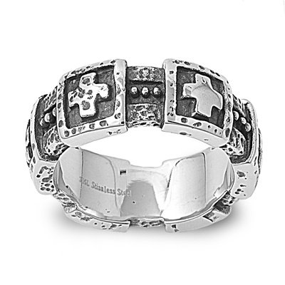 MEN'S STAINLESS STEEL GOTHIC CHOPPER SKULL & BONES MOTORCYCLE RING BAND SIZE 8-14 (13)