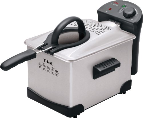 T-fal FR1014 Easy Pro Enamel Immersion Deep Fryer 3-Liters of Oil, 2.6-Pound, Silver