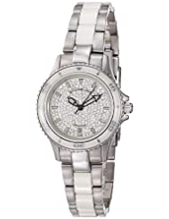 Stuhrling Original Women's 250.12EP2 Astera Swiss Quartz Date Swarovski Crystal Two Tone White Watch