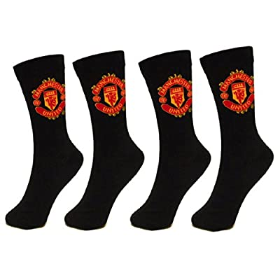 Manchester United Football Club Official Soccer Gift 2 PAIR Pack of Mens Socks