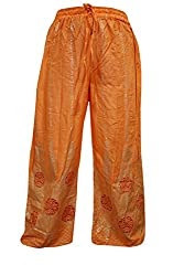 Indiatrendzs Women Pant Rayon Printed Orange Evening Wear Yoga Harem Pants