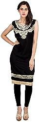 Sneharsh Women's Linen Kurti(SK111 _ 44, Black, 44)