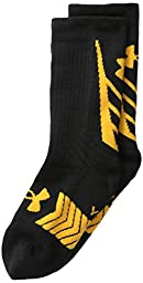 Under Armour Men\'s Undeniable All Sport Crew Socks (1 Pair), Black/Steeltown Gold, Large