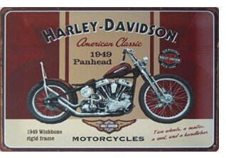 "Harley Davidson Motorcycles : 1949 Panhead, Metal Tin Sign, Vintage Style Wall Ornament Coffee & Bar Decor, Size 8"" X 12"""