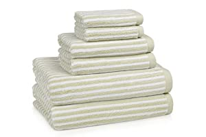 Linea, Set of 6 Bath Towels (2 Bath, 2 Hand, 2 Wash), Sage