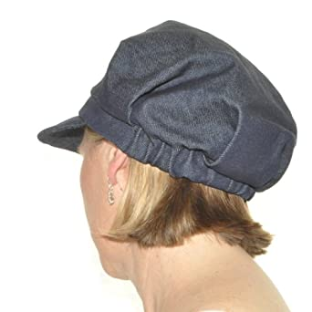 s hat for hair loss in denim cotton baker boy hat