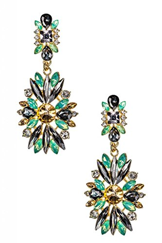 Lux Accessories Glass Gemstone Earrings (Vintage Glamour Costumes)