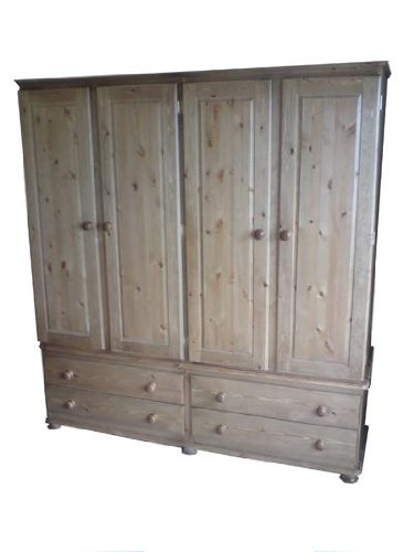 Wye Pine Woodland Quad Wardrobe - Finish: Unfinished - Stain: Waterbased