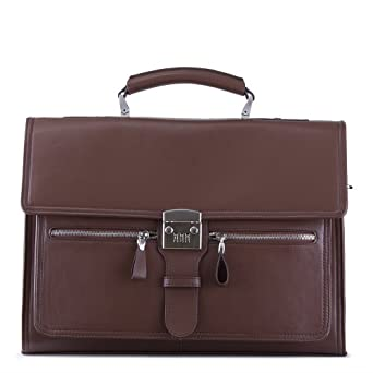 Designer Soft-Sided Leather Locking Laptop Attache Case with Shoulder Strap
