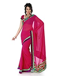 Designersareez Women Chiffon Embroidered Dark Magenta Saree With Unstitched Blouse(1358)
