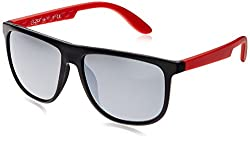 Joe Black Wayfarer Sunglasses (Black and Red) (JB-485|C5|59)