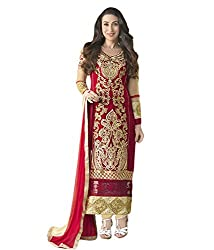 Mandani Fashion women's Fuax Georgette Party Wear Unstitched dress material(SF72_Red color)