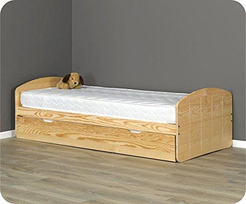 Machambredenfant - Pack lit Gigogne Dream'In Brut 90x190cm avec 2 matelas