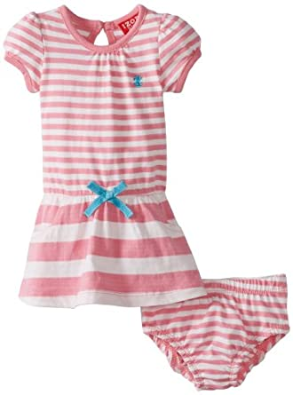 Izod Baby-Girls Infant Girl Yarn Dye Stripe Polo Dress with Diaper Cover, Pink, 24 Months