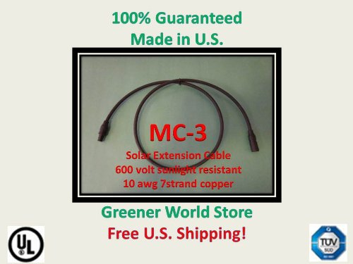 20 Foot Mc3 Solar Cable For Photovoltaic Solar Panel Mc3 Solar Connector Cable 20 Feet Long And Mc3 Connectors At Each End.
