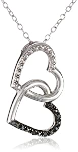 Sterling Silver Black Diamond Accent Interlocking Hearts Pendant Necklace, 18