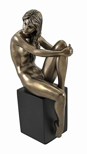 Bronzed Nude Female Posing Seated on Plinth