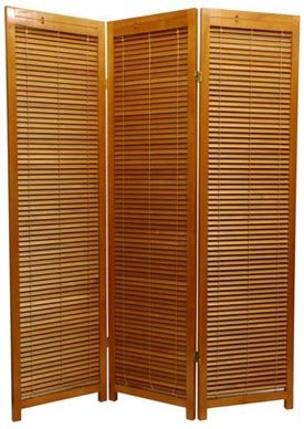Louvered Door Design - 5.5 Foot Tall Shutter Style Folding Privacy Screen Room Divider w/ Blinds - 3 Panel Honey