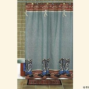 Cowboy boots decor western shower curtain for Bathroom ideas amazon