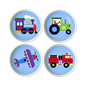 Kids Drawer Knobs - Trains, Planes & Trucks Collection (Set of 4) by Olive Kids
