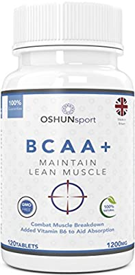BCAA Tablets | 1200mg Branched Chain Amino Acids | BCAA+ With Added Vitamin B6 to Aid Absorption | Leucine, Isoleucine And Valine In 2 1 1 Optimum Nutrition Ratio | Amino Acids Tablets (Not Capsules) | Suitable For Men And Women | UK Produced And GMP Cert