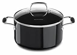 KitchenAid KCA60LCOB Aluminum Nonstick 6.0-Quart Low Casserole with Lid Cookware - Onyx Black