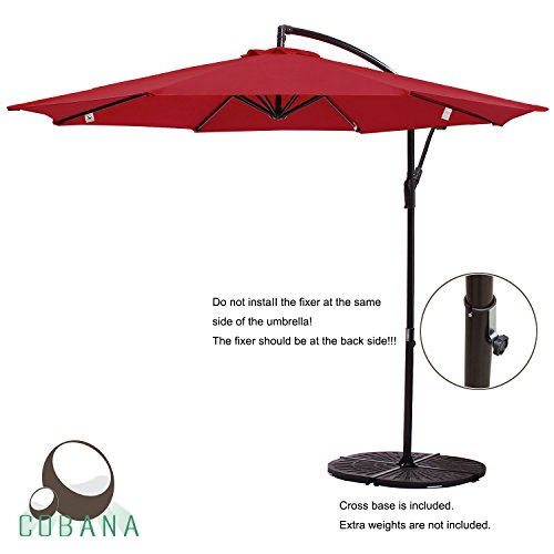 Image Is Loading COBANA 10 039 Offset Hanging Patio Umbrella Freestanding