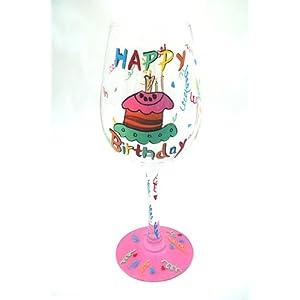 Happy Birthday Cake Handpainted Wine Glass W/Gift Box