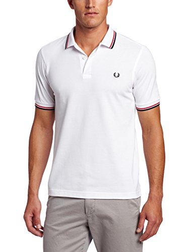 FRED PERRY M3600-748, Polo Uomo, Multicolore (White / Bright Red / Navy), L