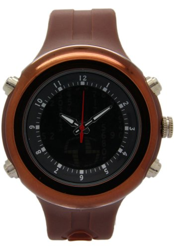 OTS Round Black Dial Digital Analogue With Brown Band Sport Watches