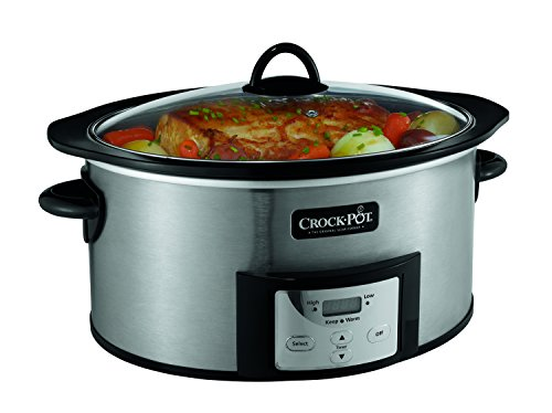 Crock-Pot , 6-Quart, Countdown Programmable Oval Slow Cooker with Stove-Top Browning, Stainless Finish SCCPVI600-S