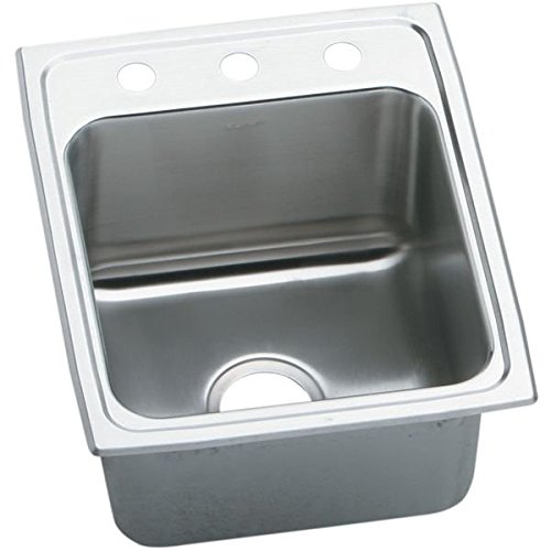 Elkay DLR1720102 2-Hole Gourmet Lustertone Stainless Steel Single Basin Kitchen Sink, 17-Inch x 20-Inch