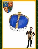Majestic Renaissance King Queen Blue Costume Crown Hat