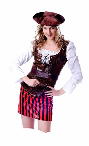 JUNPAI Women's Pirate Costume Including Shirt with Vest,Belt,Skirt