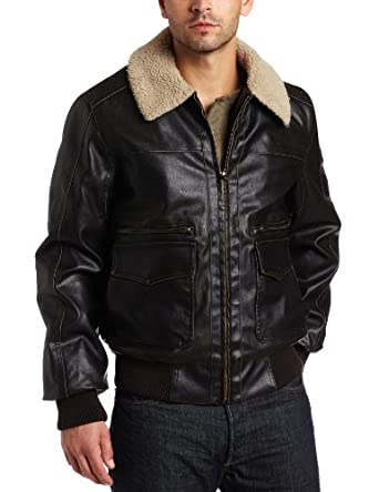 Levi's Men's Faux Leather Aviator Bomber, Brown, XX-Large