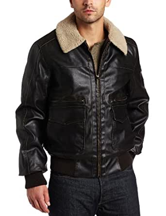 Levi's Men's Faux Leather Aviator Bomber, Brown, Small