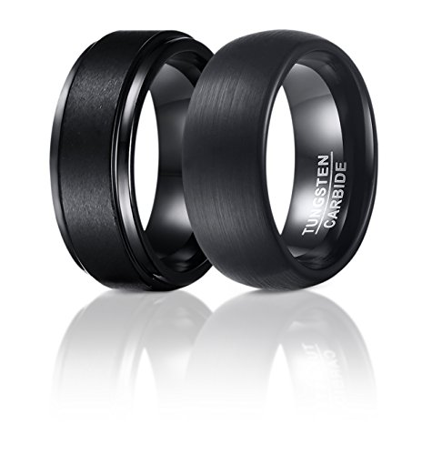 SOL Rings - Set Of 2 - 8mm Black Tungsten Carbide Wedding Rings For Men, 1 Matte Center and Step Edge Band and 1 Enamel Domed Round Brushed Band, Comfort Fit, Size 9 (Tungsten Carbide Ring Set compare prices)